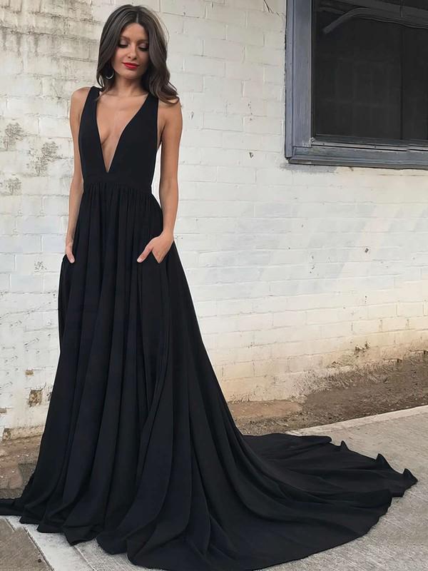 Princess V-neck Silk-like Satin Sweep Train Pockets Prom Dresses #LDB020104837