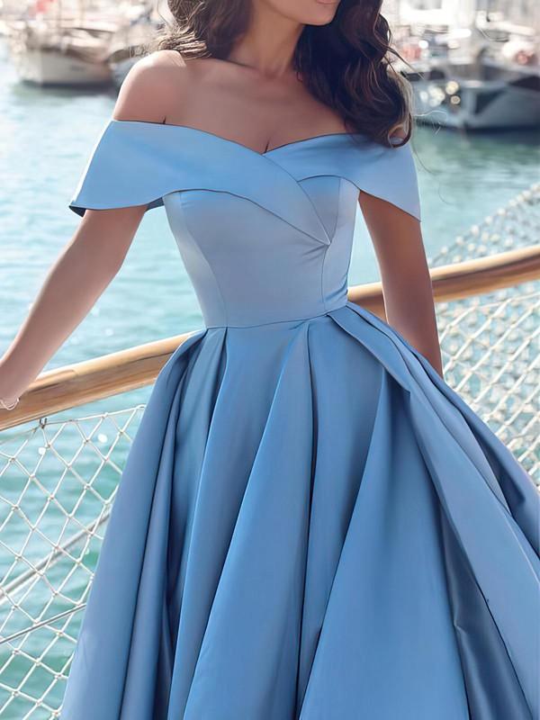 Princess Off-the-shoulder Satin Sweep Train Split Front Prom Dresses #LDB020104840
