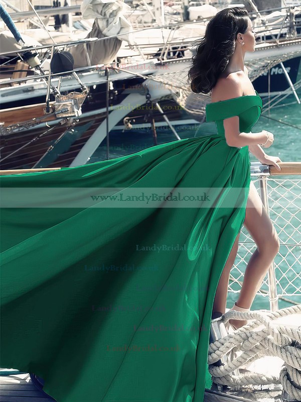 Princess Off-the-shoulder Satin Sweep Train Split Front Prom Dresses #LDB020104840