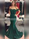 Trumpet/Mermaid Off-the-shoulder Jersey Sweep Train Ruffles Prom Dresses #LDB020104844