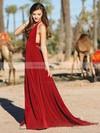 A-line Halter Chiffon Floor-length Split Front Prom Dresses #LDB020104859