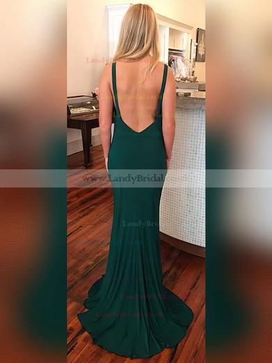 Sheath/Column Scoop Neck Jersey Sweep Train Prom Dresses #LDB020104884