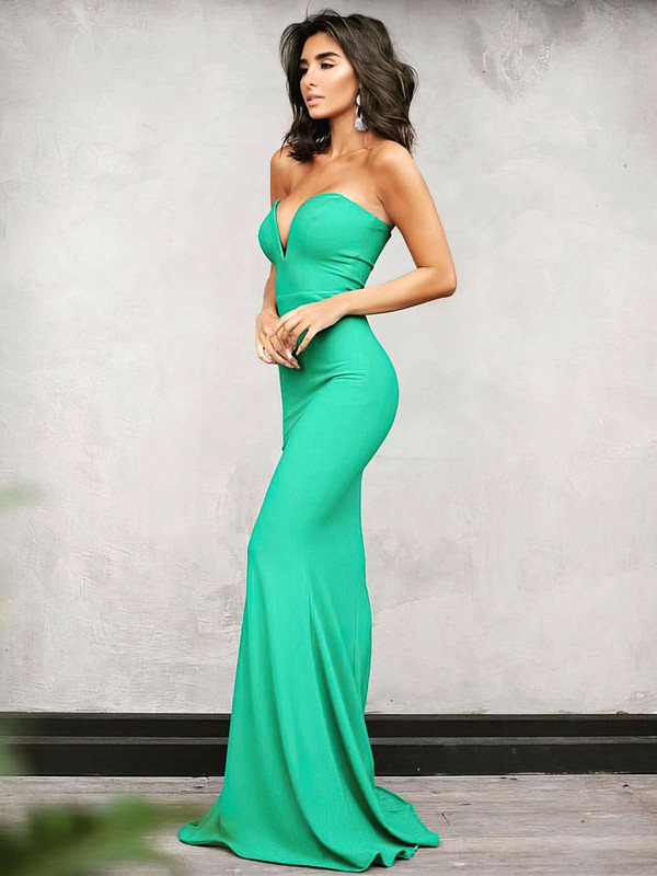 Trumpet/Mermaid V-neck Silk-like Satin Floor-length Prom Dresses #LDB020104889