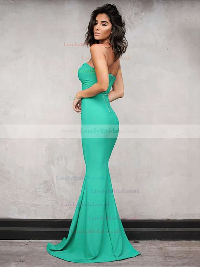Trumpet/Mermaid V-neck Silk-like Satin Floor-length Prom Dresses #LDB020104889