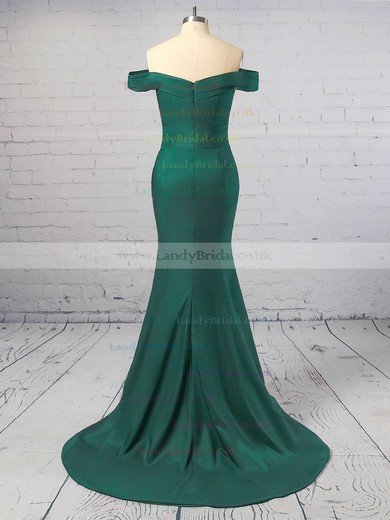 Trumpet/Mermaid Off-the-shoulder Silk-like Satin Sweep Train Prom Dresses #LDB020104890