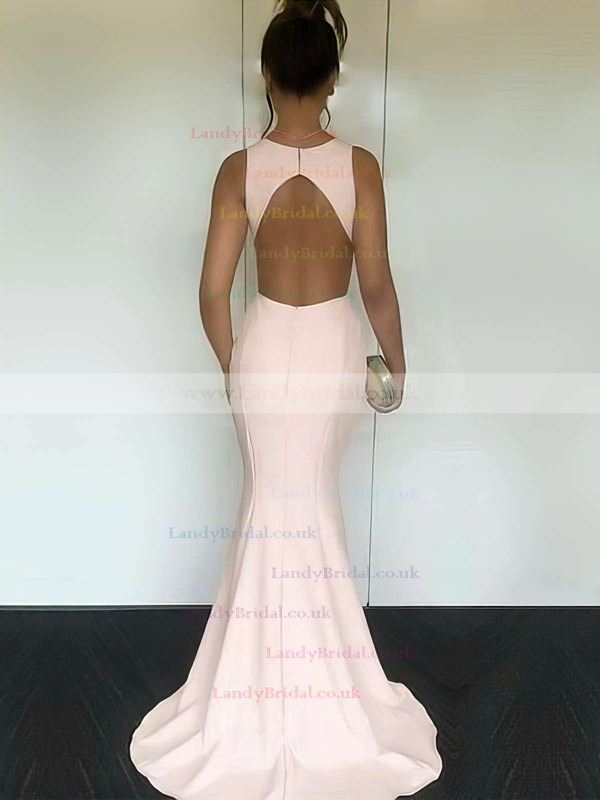 Trumpet/Mermaid Scoop Neck Silk-like Satin Sweep Train Prom Dresses #LDB020104893