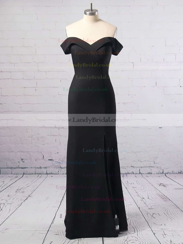 Sheath/Column Off-the-shoulder Silk-like Satin Floor-length Split Front Prom Dresses #LDB020104897