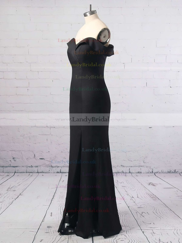 Sheath/Column Off-the-shoulder Silk-like Satin Floor-length Split Front Prom Dresses #LDB020104897