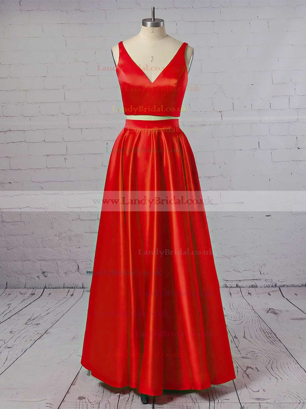 Princess V-neck Satin Floor-length Prom Dresses #LDB020104903