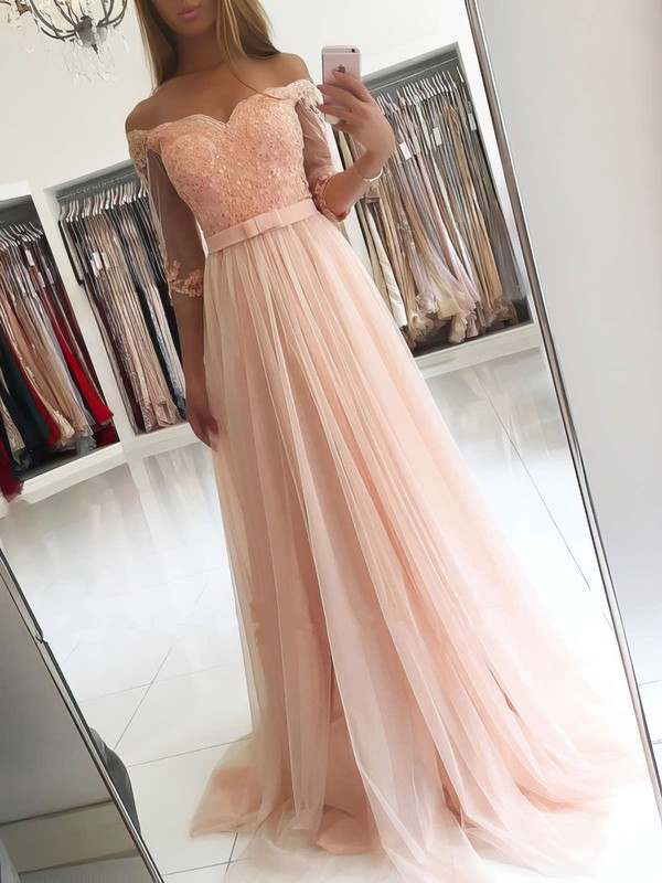 A-line Off-the-shoulder Tulle Floor-length Appliques Lace Prom Dresses #LDB020104905