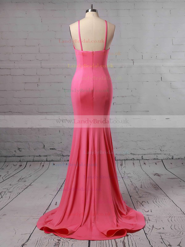 Trumpet/Mermaid Scoop Neck Jersey Sweep Train Prom Dresses #LDB020104907