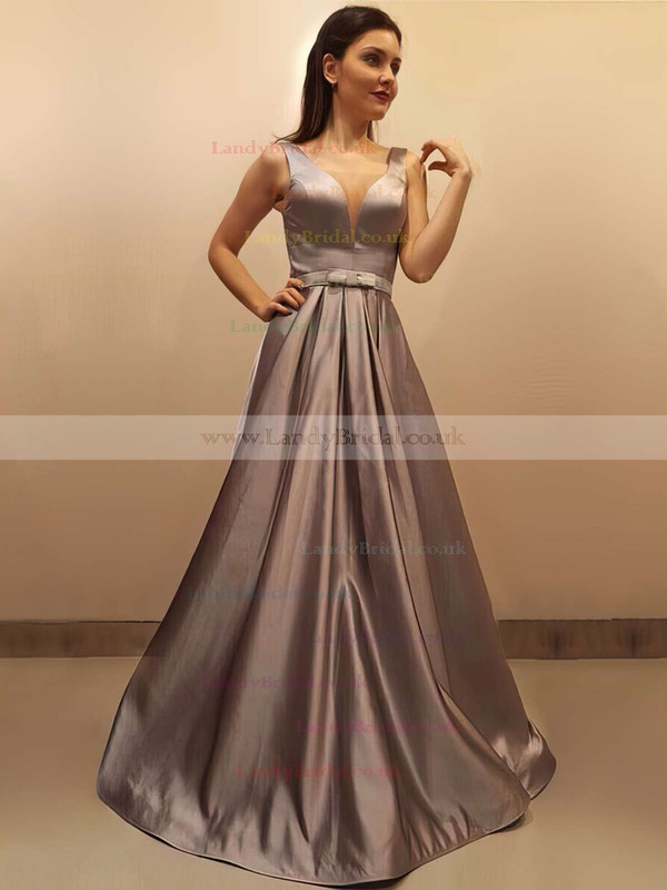 Princess V-neck Satin Sweep Train Sashes / Ribbons Prom Dresses #LDB020104908
