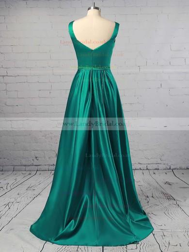 Princess V-neck Satin Sweep Train Sashes / Ribbons Prom Dresses #LDB020104908