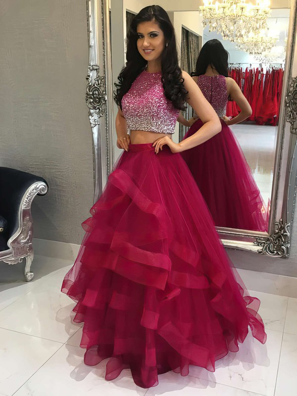 A-line Scoop Neck Tulle Floor-length Beading Prom Dresses #LDB020104914