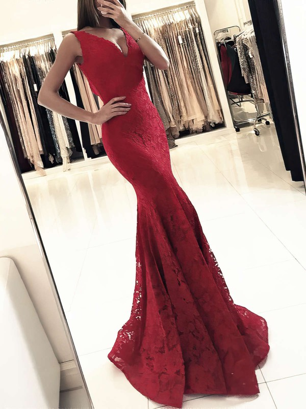 Trumpet/Mermaid V-neck Lace Floor-length Prom Dresses #LDB020104918