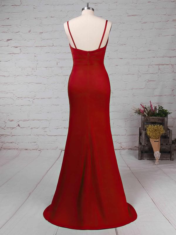 Sheath/Column V-neck Silk-like Satin Sweep Train Ruffles Prom Dresses #LDB020104919