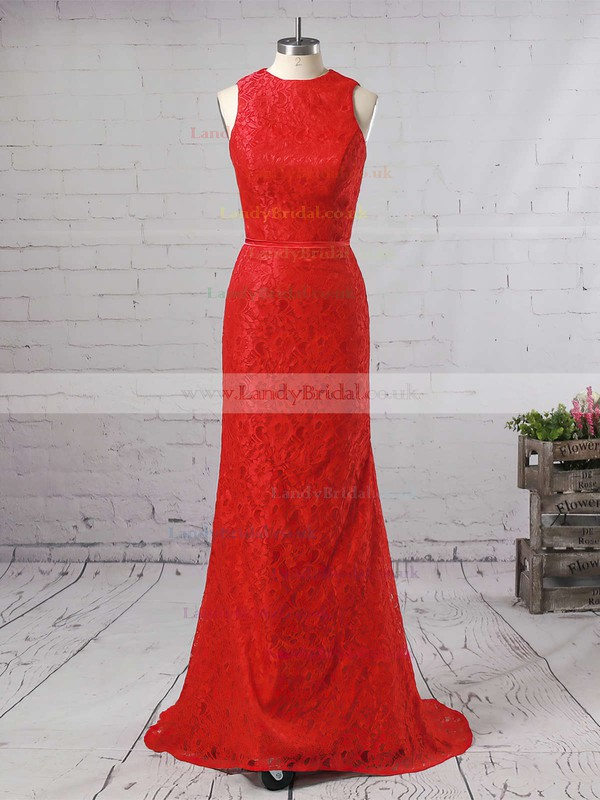 Trumpet/Mermaid High Neck Lace Sweep Train Sashes / Ribbons Prom Dresses #LDB020104921