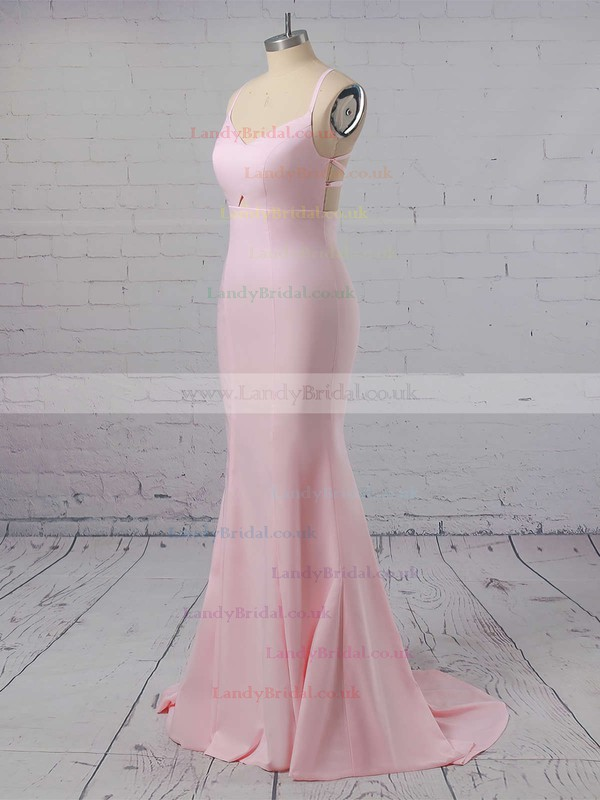 Trumpet/Mermaid V-neck Silk-like Satin Sweep Train Prom Dresses #LDB020104922