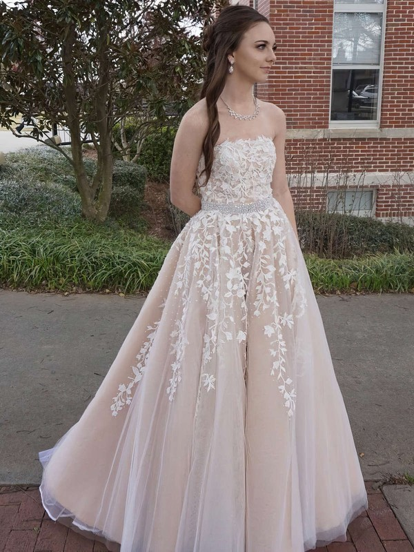 Princess Strapless Tulle Floor-length Beading Prom Dresses #LDB020104927