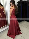 A-line Off-the-shoulder Silk-like Satin Sweep Train Sashes / Ribbons Prom Dresses #LDB020104929
