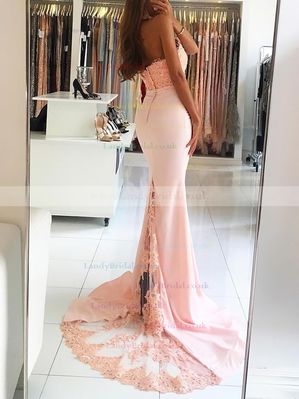 Trumpet/Mermaid Halter Jersey Sweep Train Appliques Lace Prom Dresses #LDB020104945