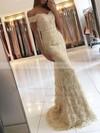 Trumpet/Mermaid Off-the-shoulder Lace Sweep Train Appliques Lace Prom Dresses #LDB020104963