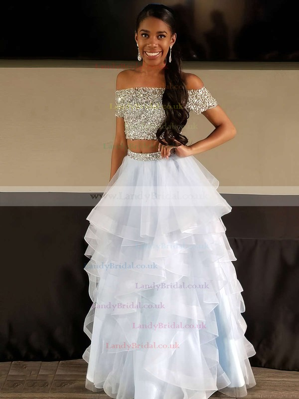 A-line Off-the-shoulder Tulle Floor-length Beading Prom Dresses #LDB020104975