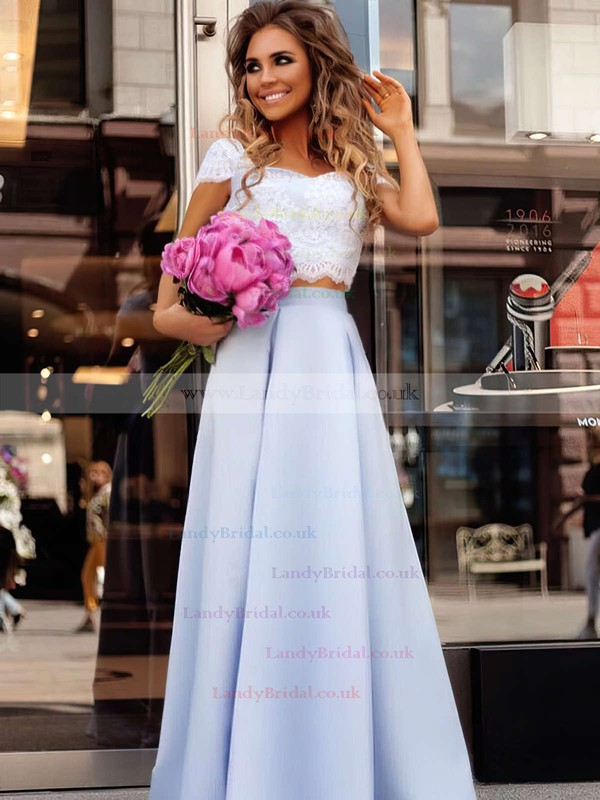 A-line Square Neckline Satin Floor-length Appliques Lace Prom Dresses #LDB020104978