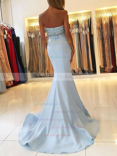 Trumpet/Mermaid Sweetheart Satin Sweep Train Beading Prom Dresses #LDB020104979