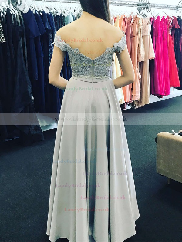 A-line Off-the-shoulder Silk-like Satin Floor-length Appliques Lace Prom Dresses #LDB020105002