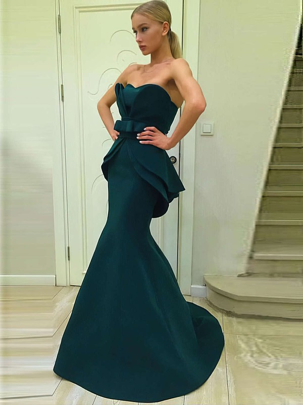 Trumpet/Mermaid Sweetheart Satin Sweep Train Sashes / Ribbons Prom Dresses #LDB020105007
