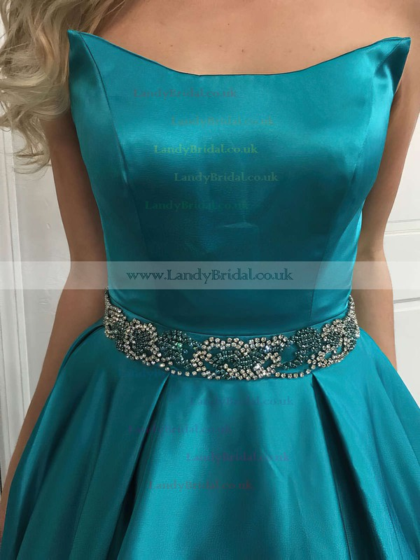 Princess Strapless Satin Sweep Train Beading Prom Dresses #LDB020105014