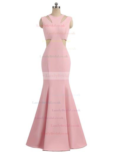 Trumpet/Mermaid Scoop Neck Silk-like Satin Sweep Train Prom Dresses #LDB020105015