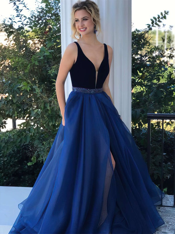 A-line V-neck Organza Velvet Sweep Train Beading Prom Dresses #LDB020105016