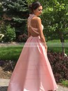 Princess High Neck Lace Satin Floor-length Beading Prom Dresses #LDB020105044