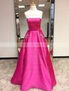 Princess Strapless Satin Floor-length Beading Prom Dresses #LDB020105052