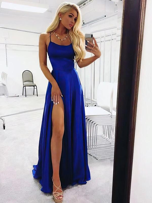 A-line Scoop Neck Silk-like Satin Sweep Train Pockets Prom Dresses #LDB020105078