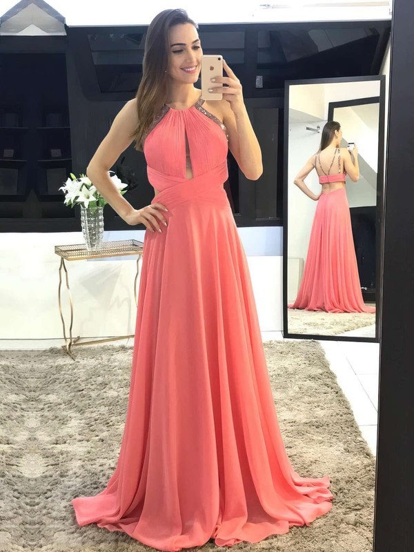 A-line Scoop Neck Chiffon Sweep Train Beading Prom Dresses #LDB020105147
