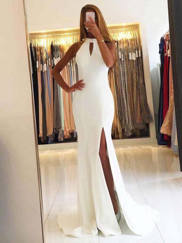 Trumpet/Mermaid Scoop Neck Chiffon Sweep Train Split Front Prom Dresses #LDB020105151