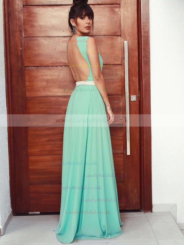 A-line Scoop Neck Chiffon Floor-length Beading Prom Dresses #LDB020105162