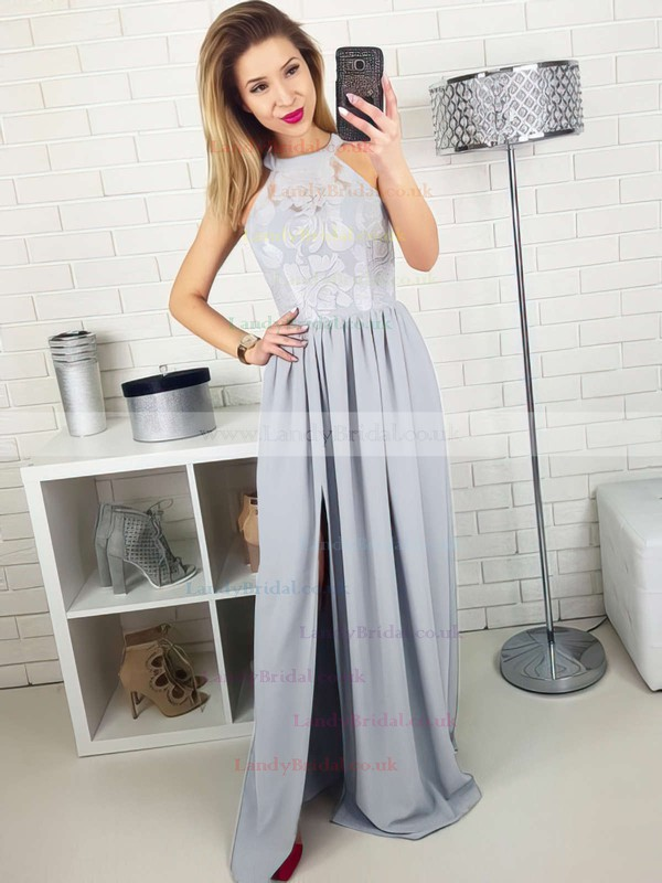 A-line Scoop Neck Lace Silk-like Satin Floor-length Split Front Prom Dresses #LDB020105172