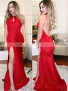 Trumpet/Mermaid Scoop Neck Jersey Sweep Train Split Front Prom Dresses #LDB020105178