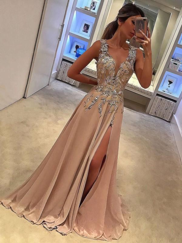 A-line V-neck Silk-like Satin Sweep Train Appliques Lace Prom Dresses #LDB020105179