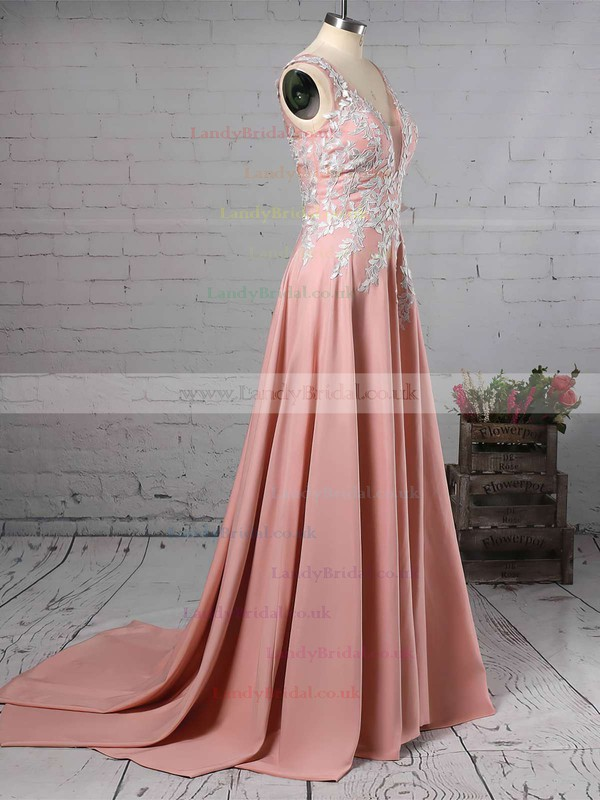 A-line V-neck Silk-like Satin Sweep Train Appliques Lace Prom Dresses #LDB020105179