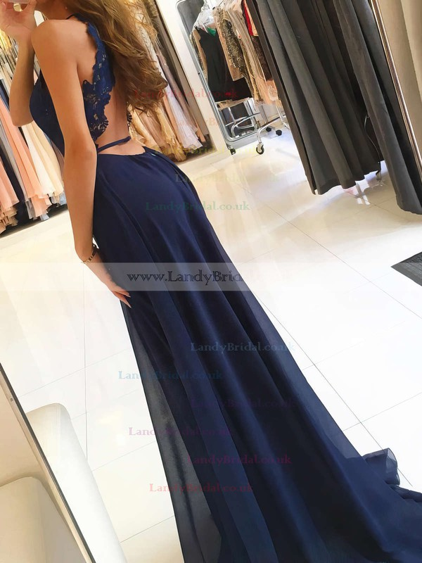A-line Scoop Neck Chiffon Sweep Train Appliques Lace Prom Dresses #LDB020105184