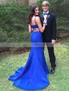 Trumpet/Mermaid Scoop Neck Silk-like Satin Sweep Train Beading Prom Dresses #LDB020105199