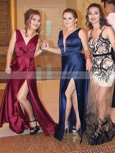 A-line V-neck Silk-like Satin Floor-length Split Front Prom Dresses #LDB020105208