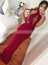 Trumpet/Mermaid High Neck Jersey Floor-length Split Front Prom Dresses #LDB020105246