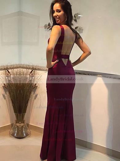 Trumpet/Mermaid V-neck Satin Floor-length Prom Dresses #LDB020105253