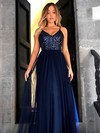 A-line V-neck Tulle Floor-length Sequins Prom Dresses #LDB020105254